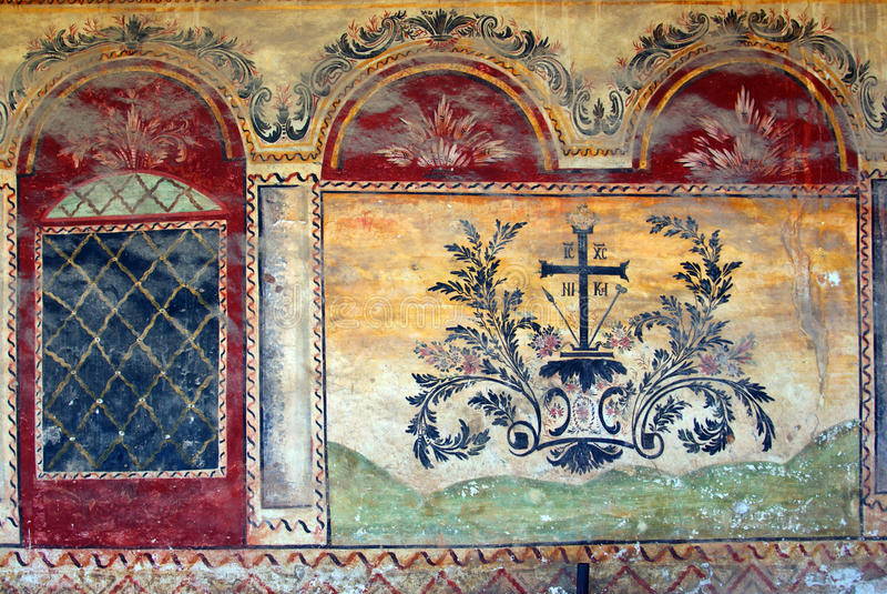 Pintura de pared medieval fotos de archivo