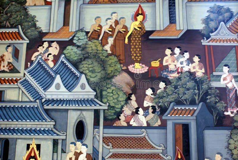 Pintura de parede das monges em um templo em Wat Pho, Banguecoque, Tailândia, Ásia fotografia de stock