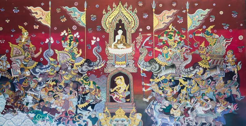 Pintura de parede do templo budista imagens de stock royalty free