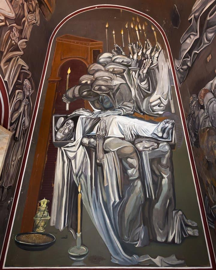 Pintura de parede na igreja de Tsarevets imagem de stock