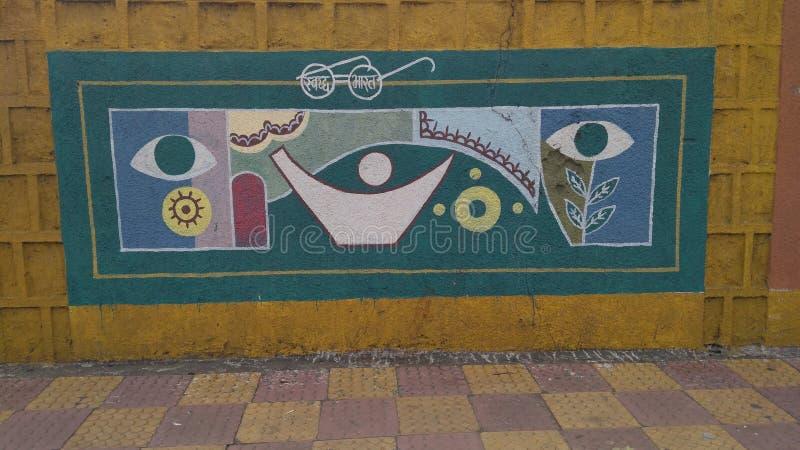 Pintura de parede pintado à mão em estradas da ÍNDIA de BHOPAL MADHYA PRADESH fotos de stock