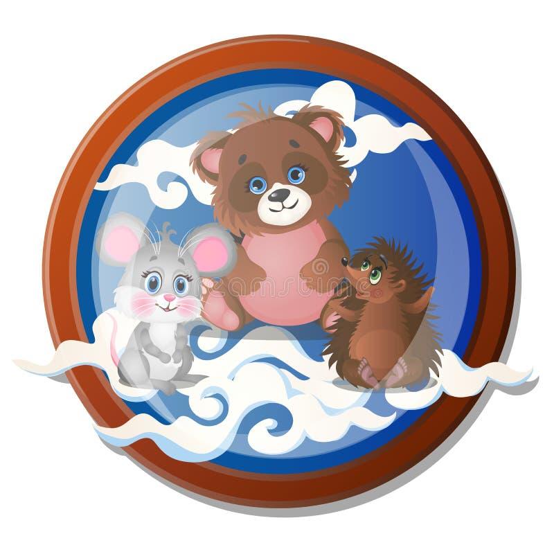 Pintura de parede redonda com os animais pequenos bonitos isolados no fundo branco Ilustra??o do close-up dos desenhos animados d ilustração stock