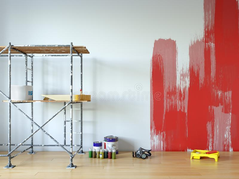 Pintura de parede, reparo da sala ilustração do vetor