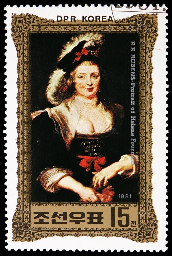Pintura de Peter Paul Rubens, retrato de Helena Fourment, serie, cerca de 1981 foto de stock