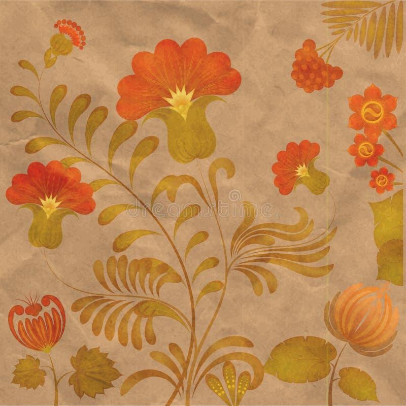 Pintura de Petrikov Ornamento floral ucraniano vendimia fotografía de archivo