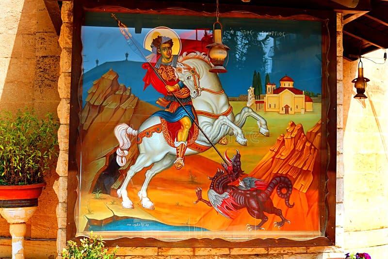 Pintura de San Jorge en la iglesia ortodoxa griega de San Jorge, Kafr Cana Kafr Kanna foto de archivo