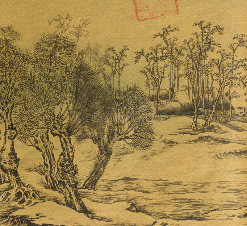 Pintura de seda chinesa antiga ilustração stock