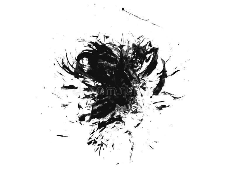 A pintura de tinta preta da aquarela chapinha o pulverizador da arte do splat da textura do sumário da mancha do fundo do grunge  ilustração do vetor