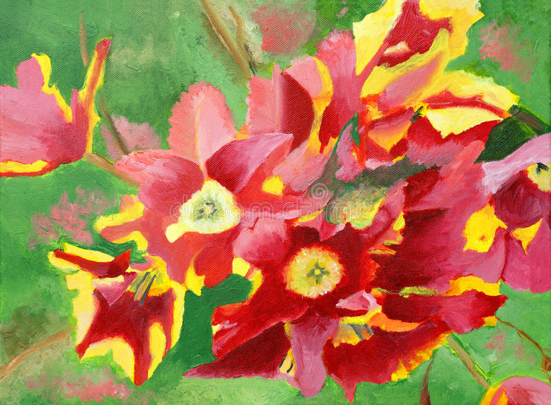 Pintura de tulipas bonitas do amarelo alaranjado ilustração stock