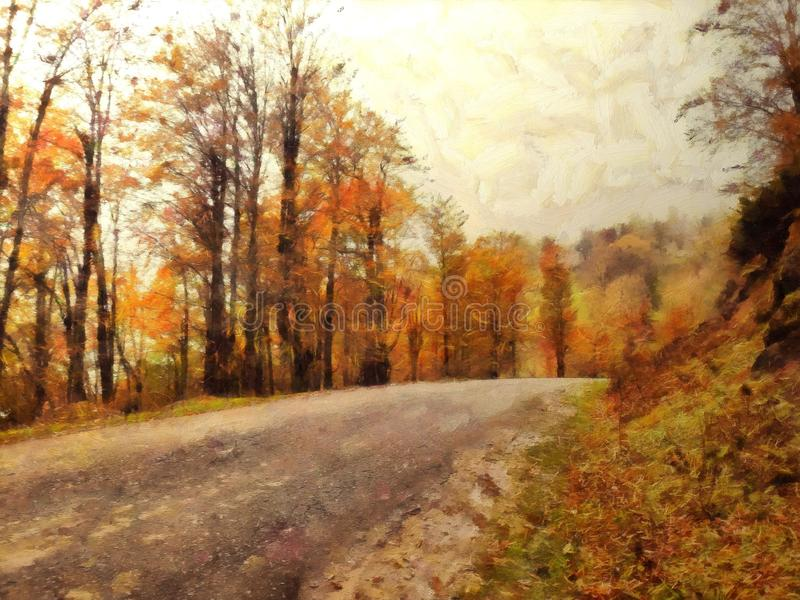 Pintura de um trajeto na floresta no outono ilustração royalty free