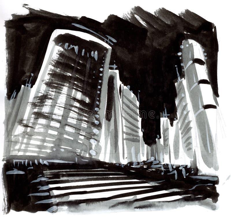 Pintura de uma cena da cidade ilustração royalty free