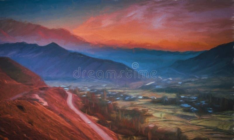 Pintura de uma estrada com o Alamut fotografia de stock