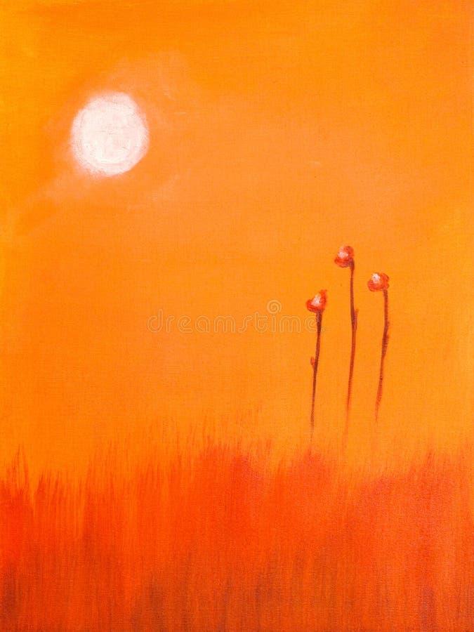 Pintura de uma flor e de um t vermelhos fotografia de stock royalty free