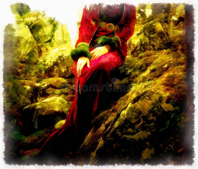 Pintura de uma floresta feericamente da mulher, mão da fantasia ilustração do vetor