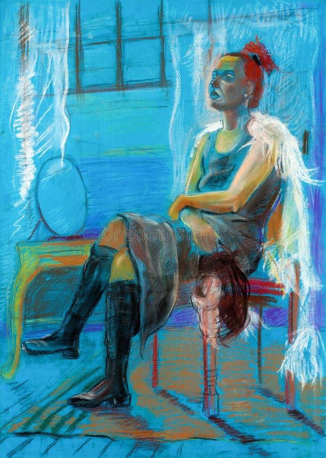 Pintura de uma mulher ilustração do vetor
