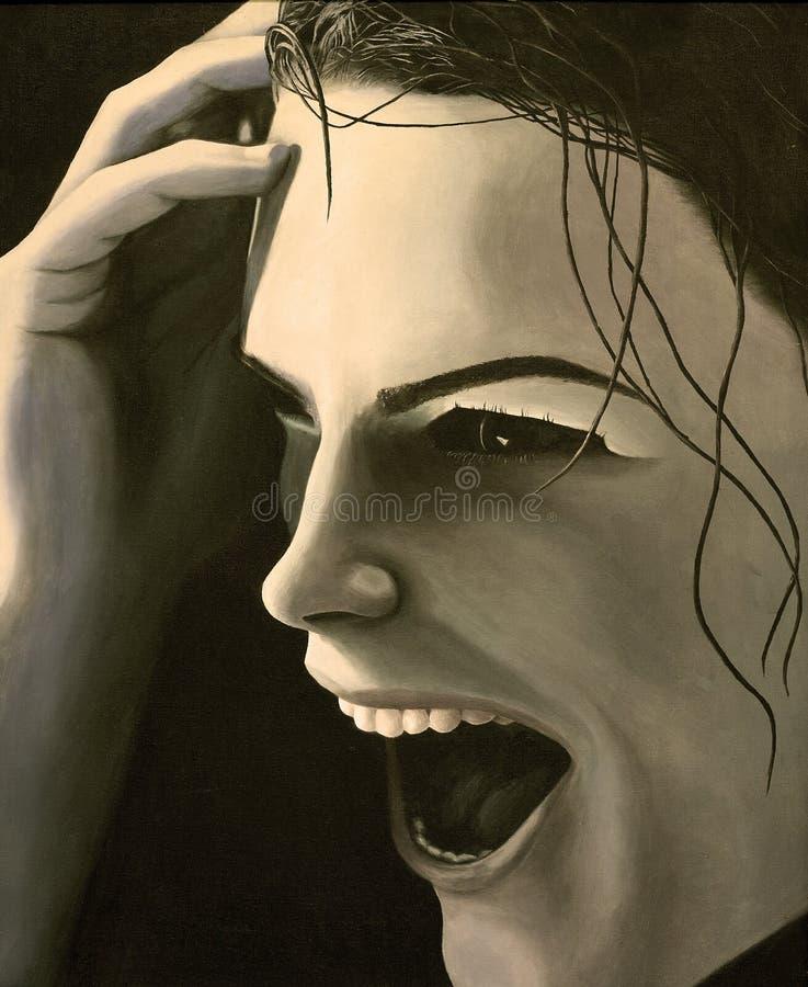 Pintura de uma mulher de sorriso no sepia fotos de stock royalty free