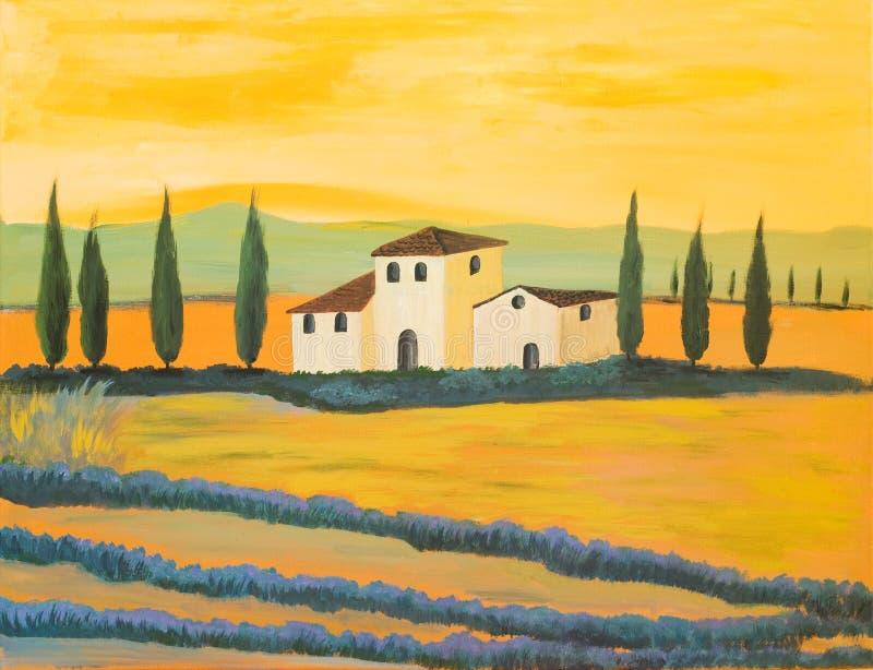Pintura de uma paisagem de Tuscan ilustração royalty free