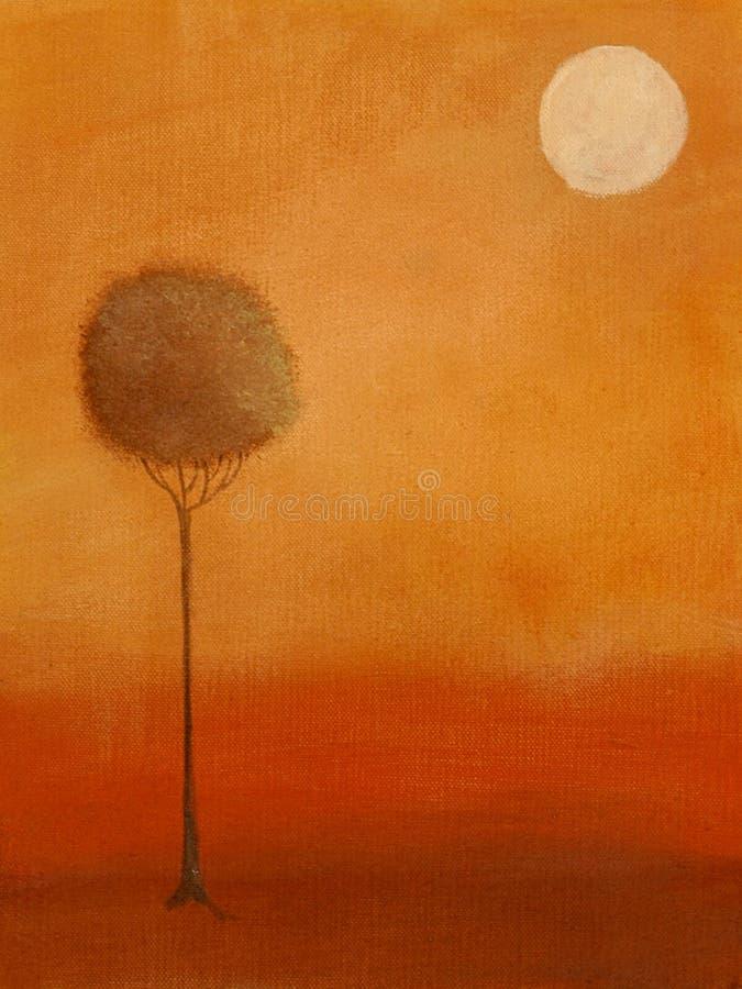 Pintura de un árbol y de la luna stock de ilustración