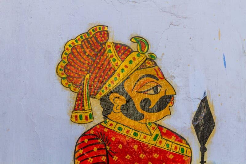 Pintura de un guerrero de Rajput fotos de archivo