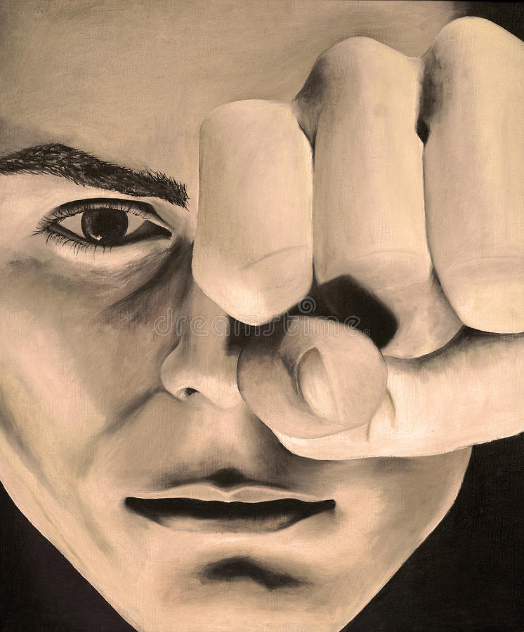 Pintura de un hombre serio con una mano cerrada en sepia ilustración del vector