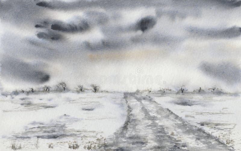 Pintura de un paisaje con nubes tempestuosas y un camino ilustración del vector