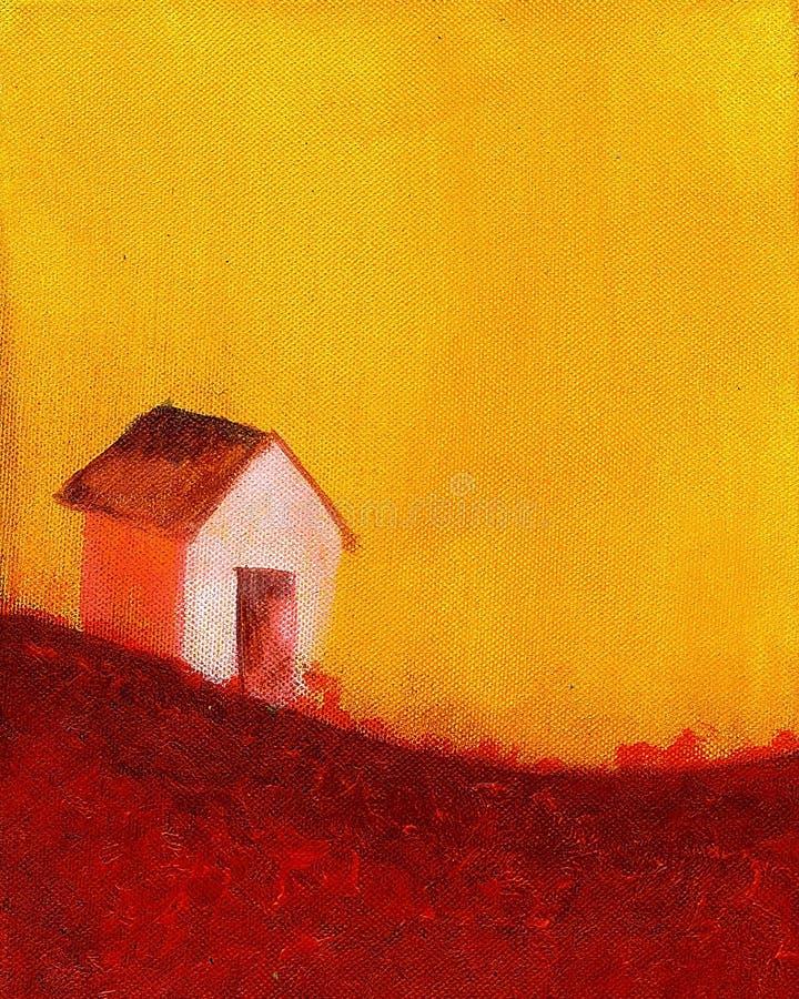 Pintura de una casa de la granja stock de ilustración