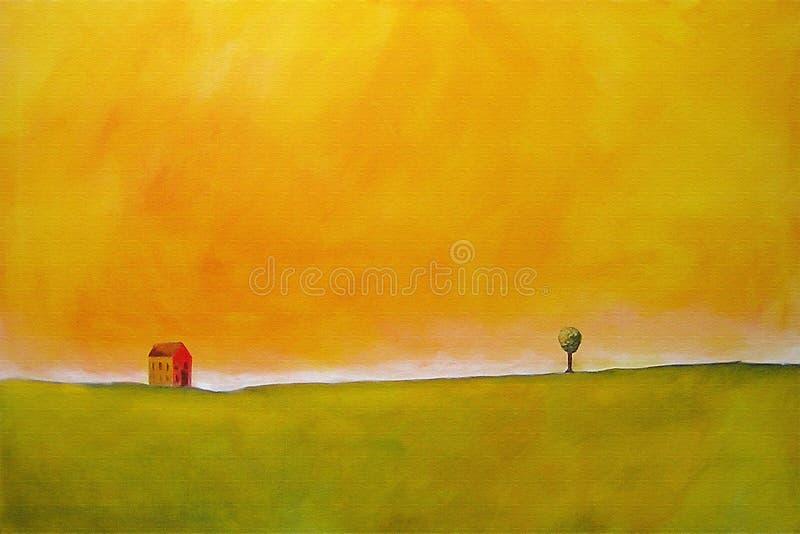 Pintura de una escena de la granja ilustración del vector
