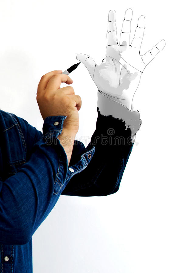 Pintura de una mano imagenes de archivo