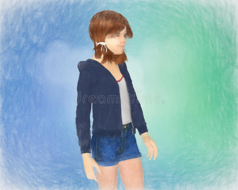 Pintura de una muchacha imágenes de archivo libres de regalías