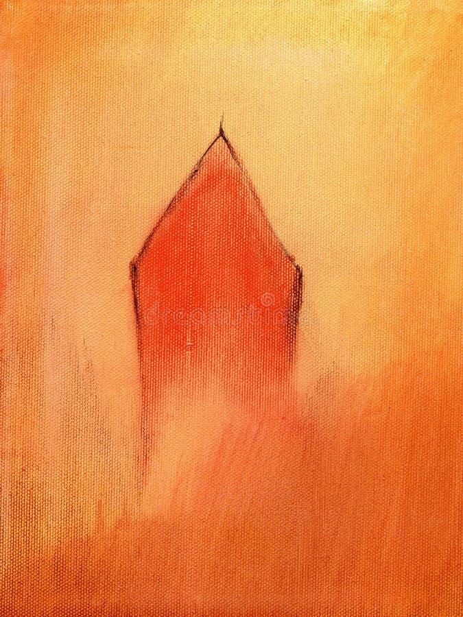 Pintura de una pequeña casa roja ilustración del vector