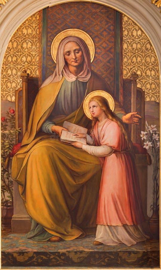 A pintura de Viena - St Ann por Josef Kastner o mais velho de 20 centavo na igreja Muttergotteskirche imagens de stock