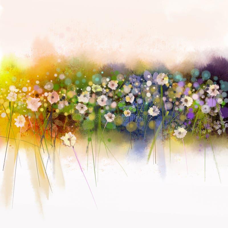 Pintura de Watecolorflowers Fundo sazonal da natureza da mola ilustração royalty free