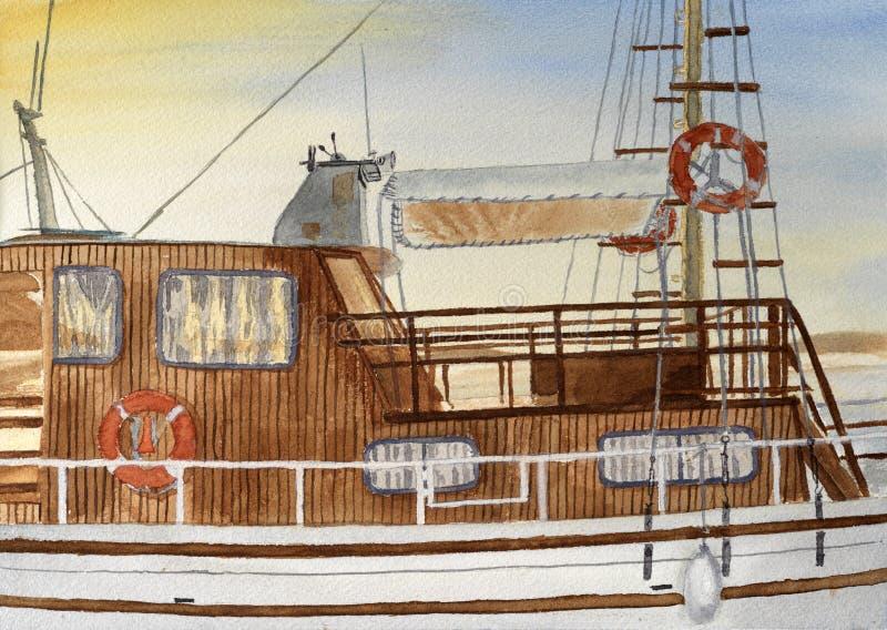 Pintura de Watercoor del barco turístico griego ilustración del vector