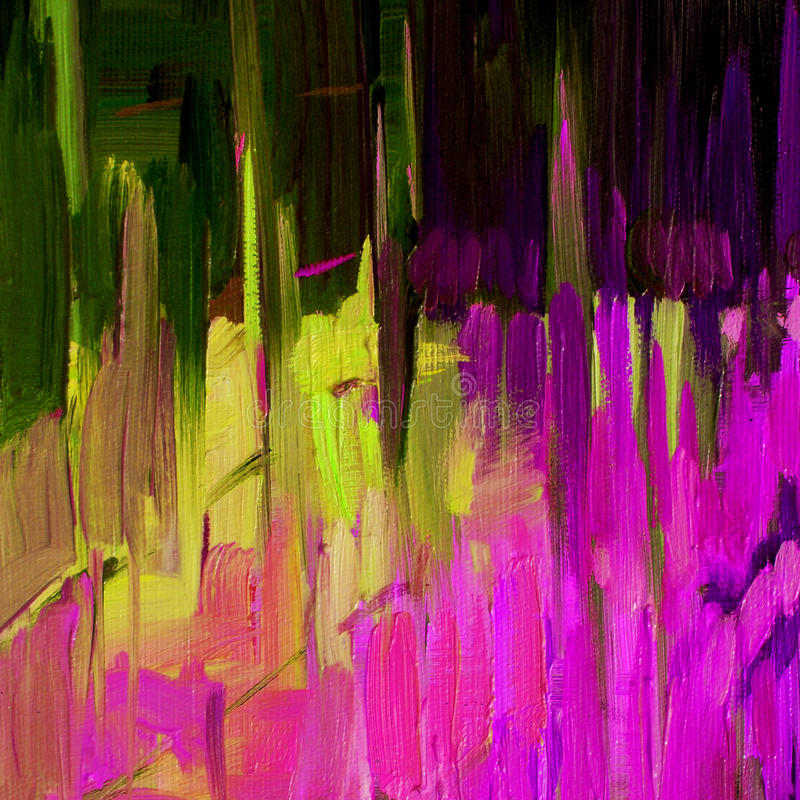 Pintura decorativa abstrata para o interior pelo óleo na lona, illu ilustração stock