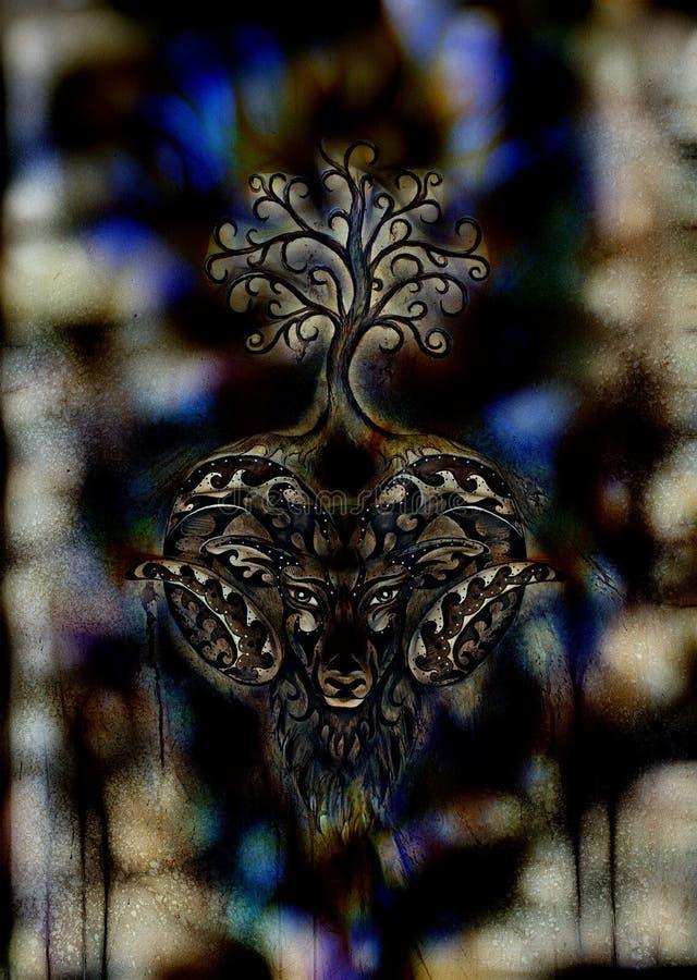 Pintura decorativa do ?ries, do s?mbolo animal sagrado e da ?rvore de vida fotos de stock royalty free