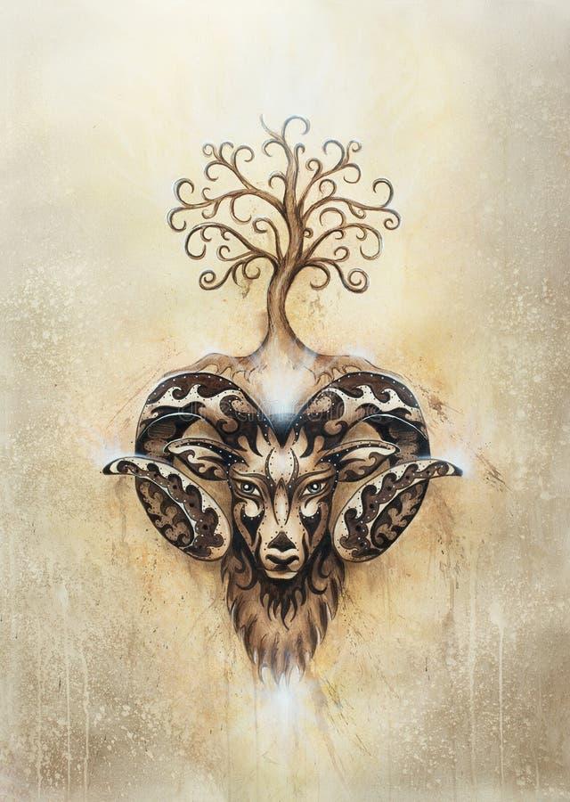 Pintura decorativa do ?ries, do s?mbolo animal sagrado e da ?rvore de vida fotos de stock