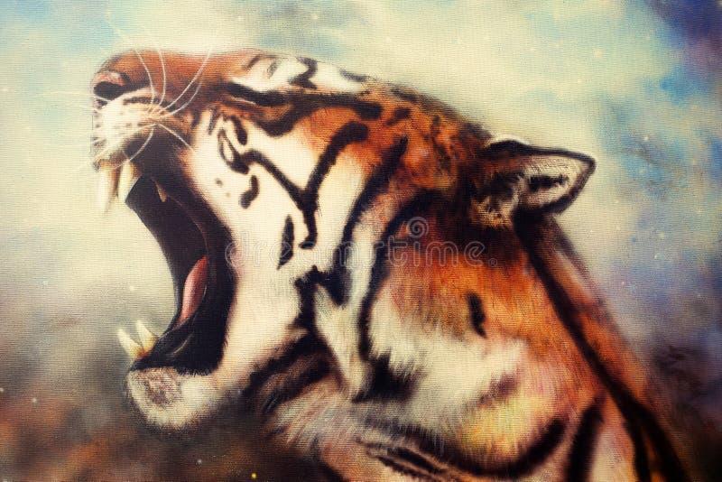 Pintura del aerógrafo de un tigre del rugido stock de ilustración