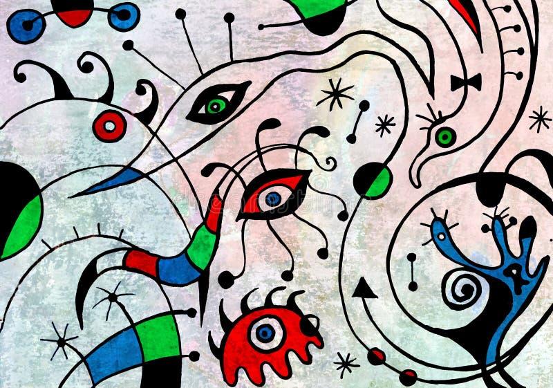 Pintura del arte abstracto con los pájaros fantásticos libre illustration