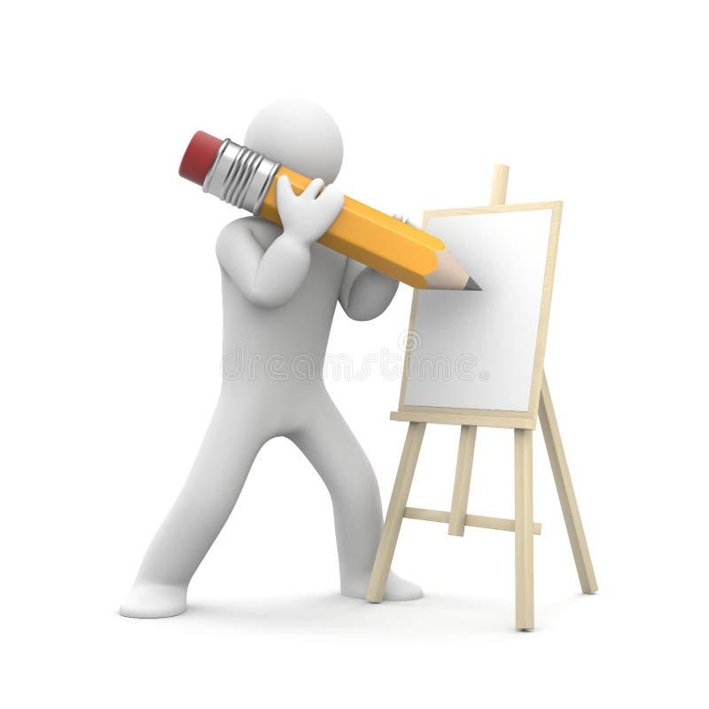 Pintura del artista en el caballete ilustración del vector