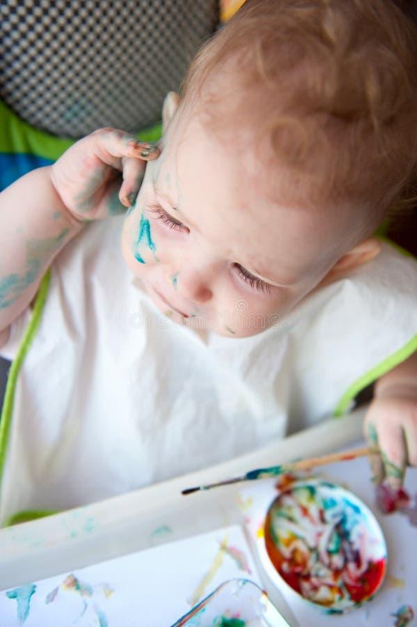 Pintura del bebé foto de archivo