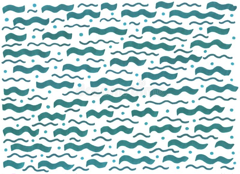 Pintura del bosquejo del marcador Ondas azules horizontales del mar Textura exhausta de la mano del Grunge para el fondo Ilustrac imagen de archivo