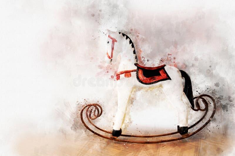 Pintura del caballo mecedora antiguo del juguete, estilo de Digitaces de la acuarela stock de ilustración