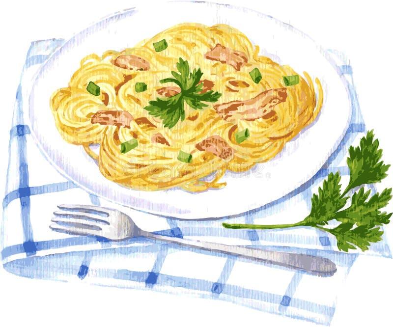 Pintura del carbonara de los espaguetis por la acuarela ilustración del vector