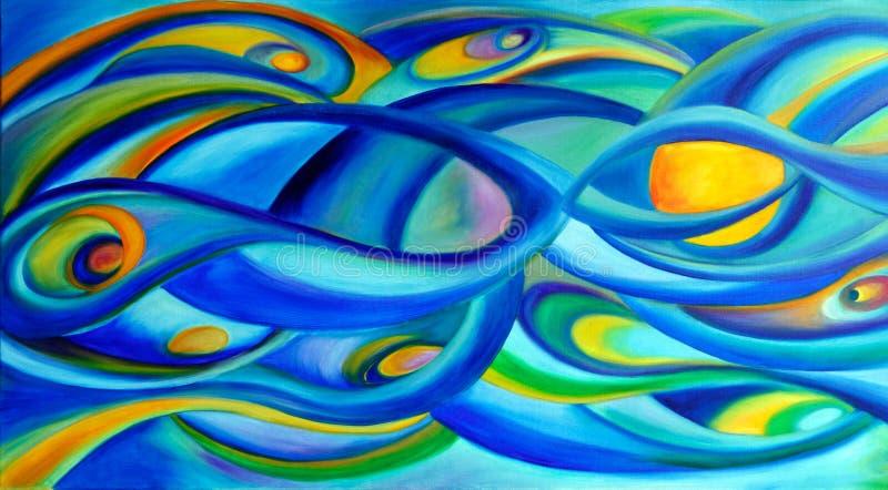 Pintura del cielo del universo con las ondas azules. ilustración del vector