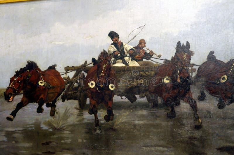 Pintura del coche tirado por cuatro caballos por monski del 'de José CheÅ fotos de archivo libres de regalías