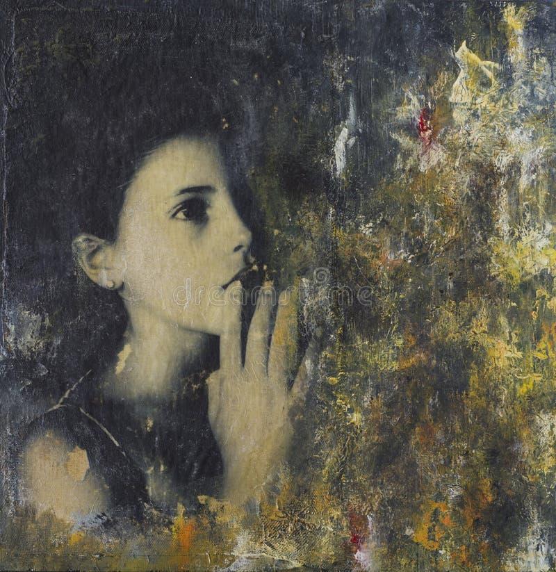 Pintura del collage con la figura de la muchacha fotografía de archivo