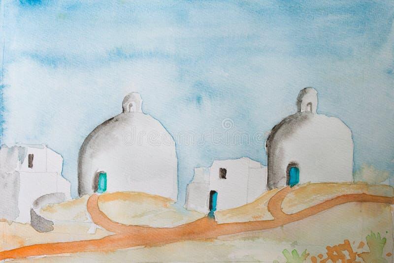 Pintura del color de agua de un paisaje mediteranean griego con las bóvedas de las bóvedas stock de ilustración