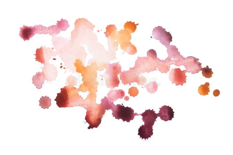Pintura del color rojo del arte de las formas de la acuarela de la acuarela o mancha colorida dibujada mano abstracta de la salpi foto de archivo libre de regalías