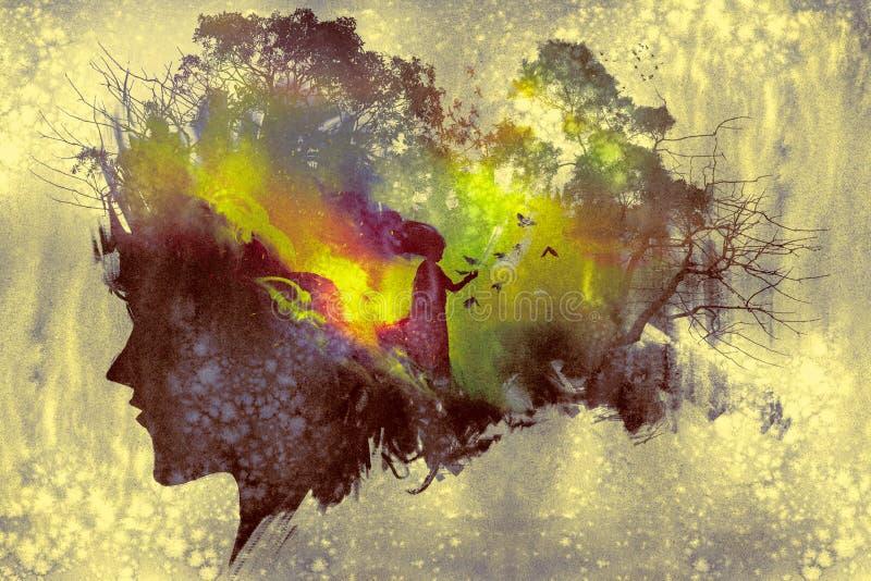 Pintura del concepto de la exposición doble libre illustration