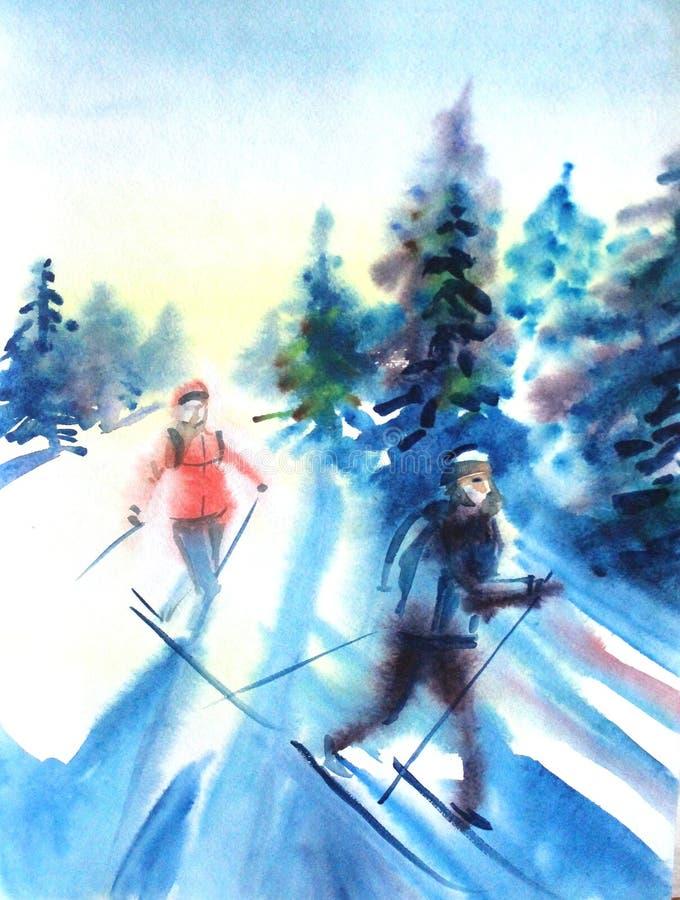 Pintura del dibujo de la acuarela femenina y masculina en el esquí en concepto de la naturaleza del esquí del deporte del bosque  ilustración del vector